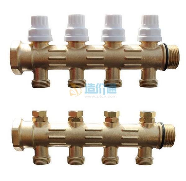PE-RT地暖管件-钢管件活接式组合分水器图片