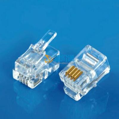 非屏蔽4P2CRJ11水晶头(三叉)图片
