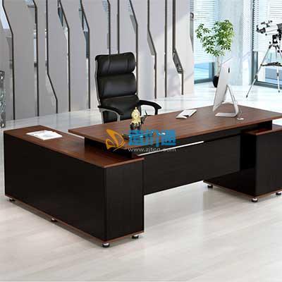 实木颗粒板大班桌图片
