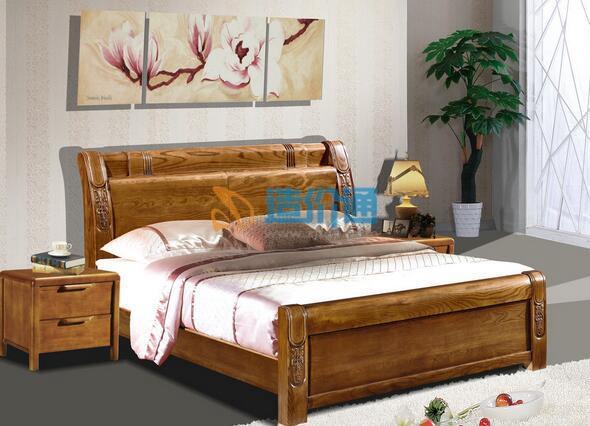 雙層帶抽屜泰柚木飾面床頭櫃图片